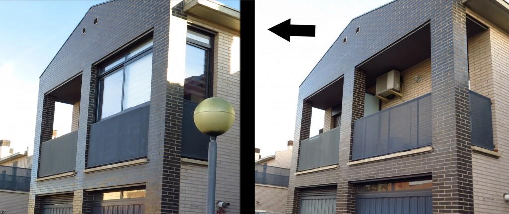 cerramiento de galeria en aluminio grafito.